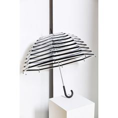 Stripe Bubble Umbrella ($24) ❤ liked on Polyvore featuring accessories, umbrellas, umbrella, black, black umbrella, transparent umbrella, striped umbrella, bubble umbrella and see through umbrella