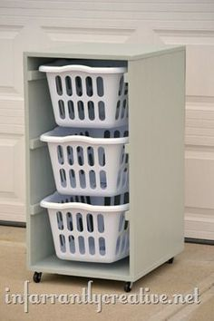 Laundry Basket Dresser This is a practical, inexpensive laundry sorting system similar to what I have done for years. Includes a tutorial for turning the baskets lengthwise also if that better suits your space. Laundry Room Organization, Laundry Storage, Small Storage, Diy Storage, Storage Ideas, Clothes Storage, Organization Ideas, Diy Clothes, Storage Shelves