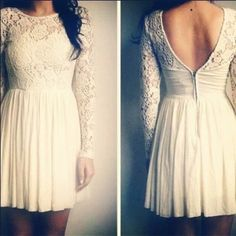 pretty lace dress with sweetheart open back & long sleeve
