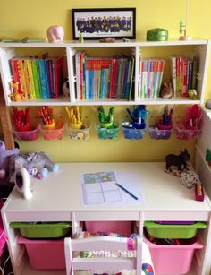 Wonderful creative space for a child! Love all the little containers under the book shelf separating the art supplies/colors, like a rainbow effect. So inspiring for creativity!