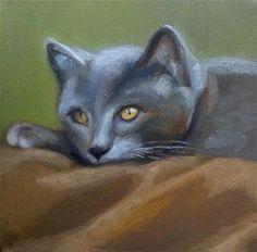 """Gray Cat"" - Original Fine Art for Sale - © Wendy Ordonez"