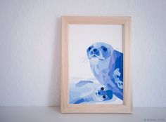 Seal, Weddell seal seal, Ocean art, Beach print, Sea creatures, Mother and baby art, Seal illustration, Geometric, Arctic animals, tinykiwi by tinykiwiPrints on Etsy