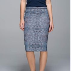 "Twice As Nice Skirt Reversible skirt with key pocket in the waistband. 25 1/2"" long. No stains, no pilling. Print is bead envy silver spoon multi reversing to black.  Shopper included. lululemon athletica Skirts Pencil"