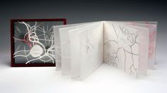 Pathways by Macy Chadwick. Within translucent pages, cut paper shapes create a neurological geography of veins & synapses, as text speaks of emotional pathways. Turning pages echoes the experience of focusing a microscope, layer by layer on a complex slide. On closer examination, once-familiar patterns of thought devolve into dense, uncertain territory—an intimate relationship in flux. Imagery laser printed on translucent Kimodesk pages. Letterpress text on UV Ultra paper. Pochoir hand…