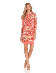Donna Morgan Women's Asymmetrical Draped Print Dress With Border Detail at Sleeves and Hem, Coral Multi, 8 Donna Morgan,http://www.amazon.com/dp/B00BRBCADG/ref=cm_sw_r_pi_dp_ujPUrb59DF3E4C8D