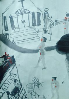 """Holly Froy """"Roundabout"""" Ink and crayon on paper"""