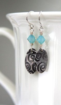 Earrings, fine silver, PMC, metal clay, swirl pattern,Swarovski crystals, turquoise, blue, sterling silver, gift, Tagt Team