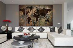 Large World Map Canvas Print Wall Art Multi Panel World Map