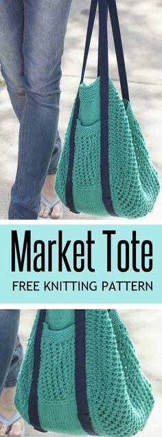 Knitted Market Bag Free Pattern Ideas -The Whoot ; gestrickte markttasche kostenlose musterideen - the whoot ; idées de modèles gratuits de sacs de marché en tricot - the whoot Bag Pattern Free, Tote Pattern, Pattern Ideas, Bag Patterns, Stitch Patterns, Bag Crochet, Crochet Market Bag, Knit Bag, Slippers Crochet