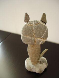 Stone pebble cat
