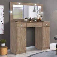 Penteadeira Camarim com Espelho 3 Gavetas 2 Portas Carisma Demóbile Nogal - Magazine Mandinha Tecno, Office Desk, Corner Desk, Vanity, Cabinet, Mirror, Storage, Furniture, Home Decor