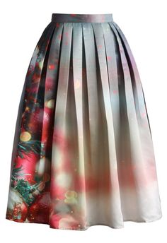 Merry Ornaments Print Midi Skirt - New Arrivals - Retro, Indie and Unique Fashion