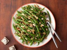 Tyler Florence Green Beans with Caramelized Onions and Almonds from CookingChannelTV.com