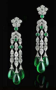 Antique diamond and emerald earrings. Beautiful!