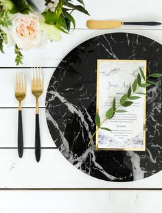 Marble Charger Plates Black & White 13 diameter Wedding Decor New Years Modern Minimalist Black & Gold