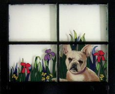 French Bulldog Hand Painted Window Recycled Art Painted by petzoup, $100.00