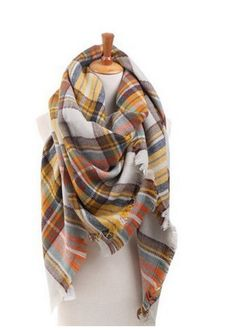 Oversized Plaid Blanket Scarf - Mustard/Grey