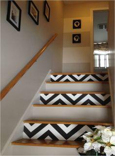 DIY chevron stairs, painting chevron stripes, chevron, foyer my goal to paint these next week!!