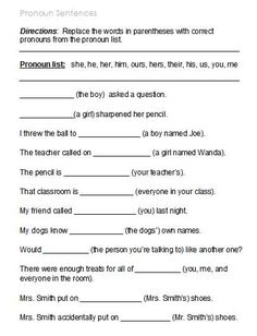 Free Possessive Pronoun Worksheets #1