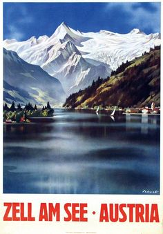 Vintage Travel Poster - Skiing - Zell am See - Austria. Cancun Hotels, Beach Hotels, Beach Resorts, Bad Gastein, Zell Am See, Hallstatt, Vintage Ski Posters, Austria Travel, Beach Trip