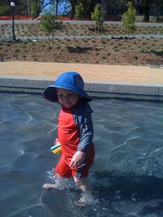 Playing in the fountain at Stanford