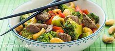 Recept voor snelle roerbak van vlees en groente met een Oosters tintje