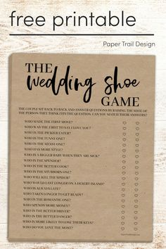 The wedding shoe game adds fun to any wedding. Gender neutral to accommodate gay and lesbian weddings as well. #papertraildesign #weddingprintables #freeprintable #freeprintables #freeprintablewedding Shoe Game Wedding, Wedding Games, Wedding Humor, Diy Wedding, Wedding Ideas, Shoe Game Questions, Just Married Banner, School Coloring Pages, Paper Trail