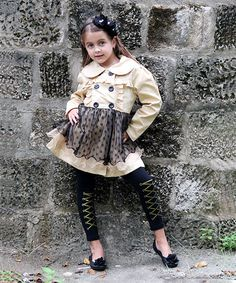 Take a look at this Beige & Black Skirted Trench Coat - Toddler & Girls by Mia Belle Baby on #zulily today!