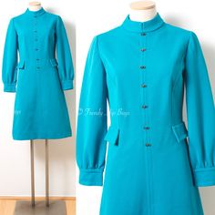 Mod Dress Vintage Turquoise Dress Mad Men by TrendyHipBuysVintage