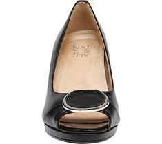 Naturalizer Ollie Wedge Pump - Black Leather 6.5 M (Regular)