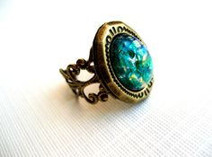 Vintage locket ring green opal Forest Beauty by TheDuchessJewels, via Etsy.