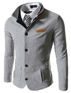 (GD140-GRAY) Slim Stretchy China Collar Knitted Cardigan