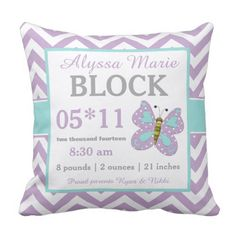 Purple Teal Butterfly Child Announcement Pillow. ** Find out more by checking out the photo link
