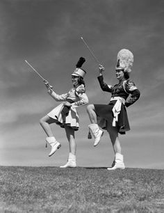 Don't forget the Majorettes leading the marching band during football halftime shows! Majorette Uniforms, Band Uniforms, Vintage Magazine, Retro Mode, Black White, Back In The Day, Photographic Prints, Vintage Images, Old Photos