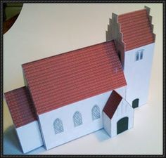 Miniature Danish Church Paper Model - by Margit Ammentorp - == - A beautiful miniature church that is perfect for Dioramas, RPG and Wargames, by Danish designer Margit Ammentorp, from PAPIRKLIP OG ÆSKER website. Christmas Village Houses, Putz Houses, Paper Toys, Paper Crafts, Cardboard Model, Christmas Landscape, Miniature Houses, Tiny Houses, Glitter Houses