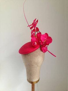 WIN: Hot Pink Straw Button with Handpainted Orchids & Single Quill by Murley & Co #Millinery #HatAcademy