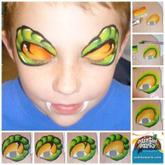 Simple face painting designs are not hard. Many people think that in order to have a great face painting creation, they have to use complex designs, rather then simple face painting designs. This is a common mistake that many people m Face Painting Images, Face Painting For Boys, Face Painting Tips, Face Painting Tutorials, Face Painting Designs, Paint Designs, Body Painting, Snake Face Paint, Dragon Face Painting