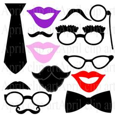 Free Photo Prop Downloads | INSTANT DOWNLOAD Photo Booth Prop clipart, Printable, Mustache, Lips ...