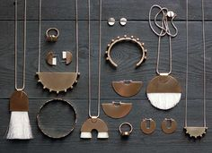 Tiro Tiro: Cercis / hammered brass jewelry and white accents / necklace, bracelet, earrings, ring