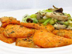 Voedselzandloper-proof: Geroosterde zoete aardappelen met gebakken paddenstoelen en gewokte prei