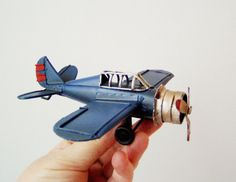 Blue metal plane vintage collectible by ArktosCollectibles on Etsy