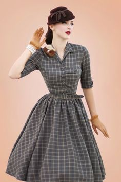 The stunning Idda van Munster wearing our 50s Idda Tartan Swing Dress in Grey by Miss Candyfloss! #iddavanmunster