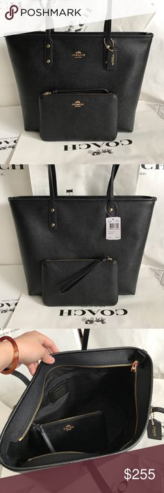 🍀Coach Set🍀 100% Authentic Coach Tote Bag and Writlet, both brand new!.😍😍😍color Black. Coach Bags Totes