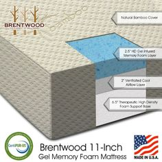 """Medium firm to medium, $380.  Brentwood 11"""" Gel Infused HD Memory Foam Mattress - 100% Made in USA - CertiPur Foam - 25-Year Warranty, Triple Layer, Natural Bamboo C..."""