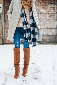 over the knee boots, distressed jeans —via @TheFoxandShe