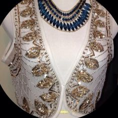 Embellished Sheer Vest Exquisitely embellished sheer vest in gold sequins and gold metallic beading.  Made from a beautiful cream sheer fabric!  Great accessory for a night out or a party!  NWT. Necklace not included Chico's Tops