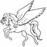 cavalo com asas para colorir em desenho