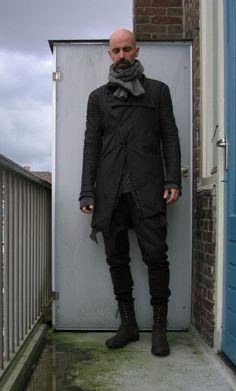 Black Coat, Boots, & Scarf : Bald Men of Style