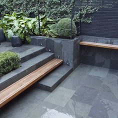 Contemporary garden landscape design and garden design examples in London by The Garden Builders, Landscape consultants. We are experts in garden landscape . Slate Garden, Patio Design, Garden Furniture, Modern Landscaping, Contemporary Garden Design, Small Garden Design, Backyard Landscaping Designs, Garden Stairs