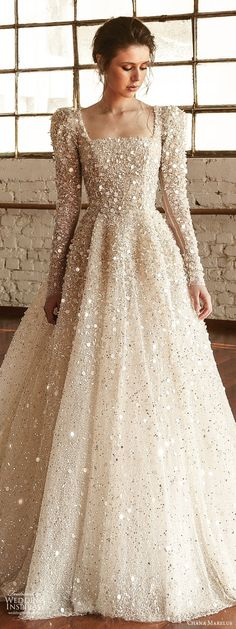 chana marelus fall 2019 bridal long puff sleeves square straigh across neckline . - - chana marelus fall 2019 bridal long puff sleeves square straigh across neckline fully embellished a line ball gown wedding dress glitzy princess r. Evening Dresses For Weddings, Princess Wedding Dresses, Modest Wedding Dresses, Bridal Dresses, Wedding Gowns, Wedding Ceremony, Evening Gowns, Princess Line Dress, Princess Style